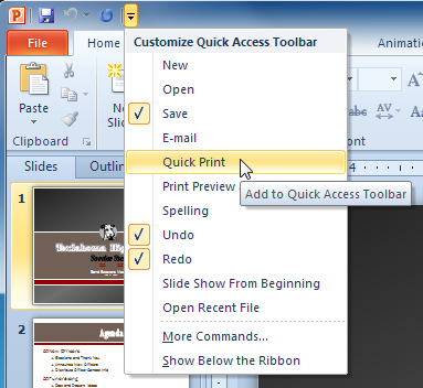 Adding Quick Print to the Quick Access toolbar
