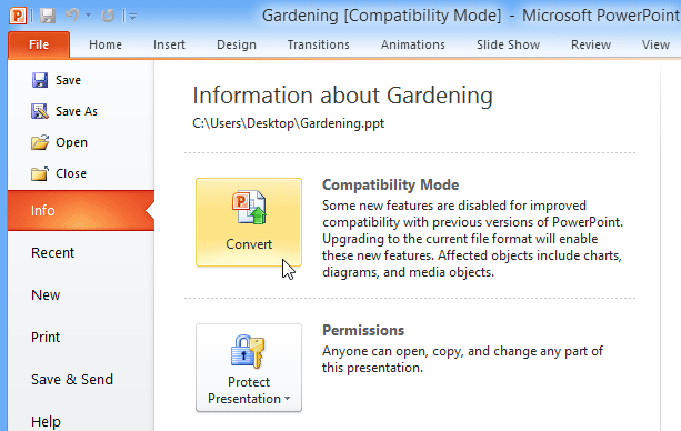 Screenshot of PowerPoint 2010