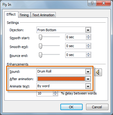 The Effect Options dialog box