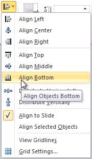 Выравнивание объектов в нижней части слайда