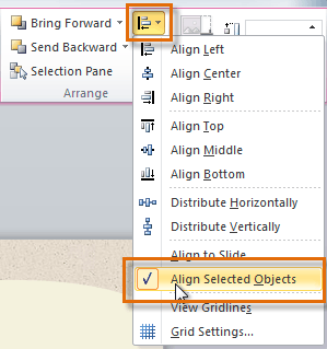 Choosing Align Selected Objects