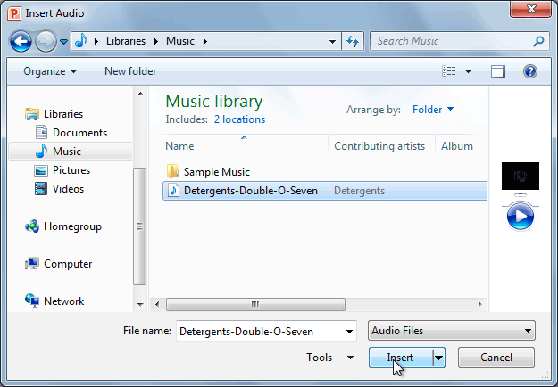 The Insert Audio dialog box