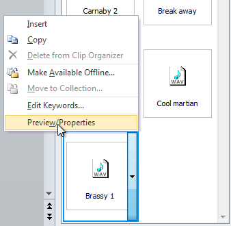Selecting Preview/Properties