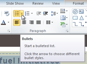Clicking the Bullets drop-down arrow