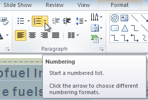 Clicking the Numbering drop-down arrow