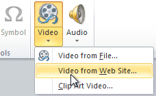 Inserting a video from a web site