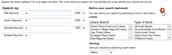 Screenshot of electronic card catalog