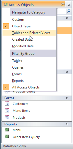 Selecting a new way to group the objects