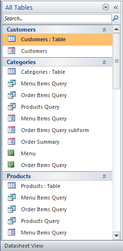 The Objects Pane, with the objects now sorted by tables and related views