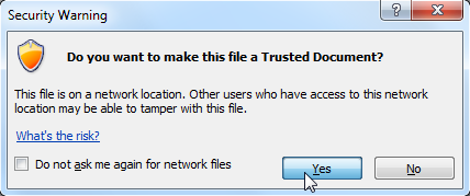 Choosing to make the file a Trusted Document