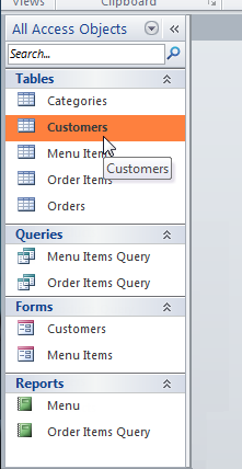 Selecting an object in the objects pane
