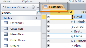 The newly opened object in the document tabs bar
