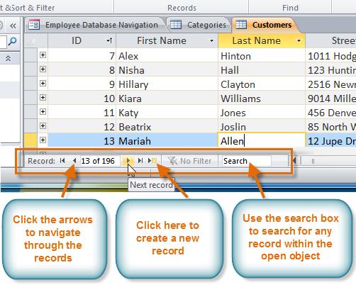 Использование панели навигации записи