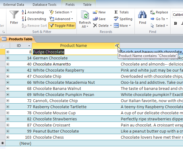 "The filtered table, now showing only records with ""chocolate"" in the Product Name"
