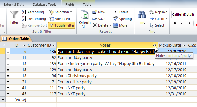 "The filtered table, now showing only records containing the word ""party"" in the Notes field"