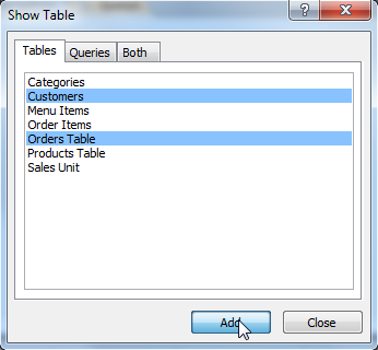 Selecting tables to use in the query