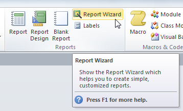 The Report Wizard command
