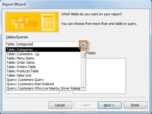 Выбор таблицы, содержащей поля для включения в отчет