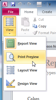 Switching to Print Preview view