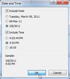 Selecting options in the Date and Time dialog box