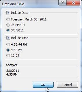 Выбор параметров в диалоговом окне «Дата и время»