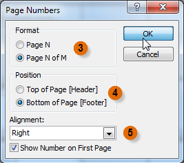 Selecting page number settings in the Page Numbers dialog box