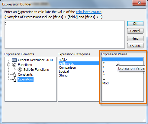 Arithmetic terms in the Expression Builder