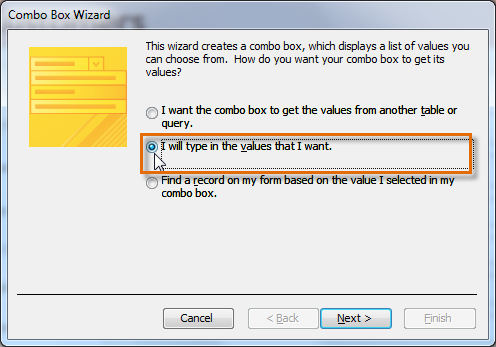 Data source options in the Combo Box Wizard dialog box