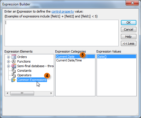 The Expression Builder dialog box