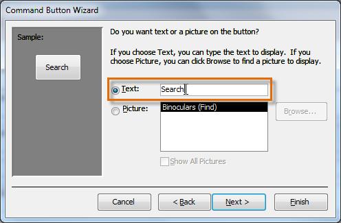 Добавление текста в командную кнопку