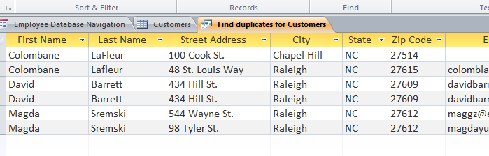 Duplicate records in the query results