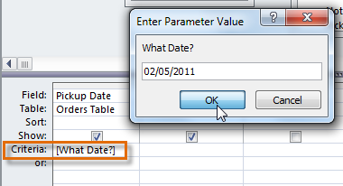 Running a parameter criteria