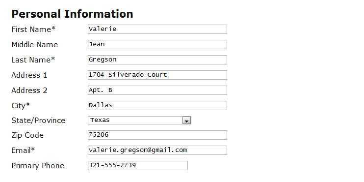 screenshot of form with personal info
