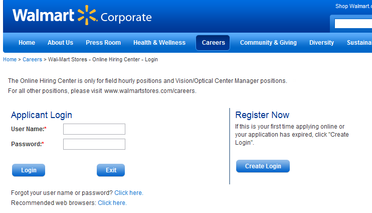 screenshot of login/register page