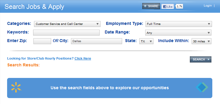 screenshot of job search page