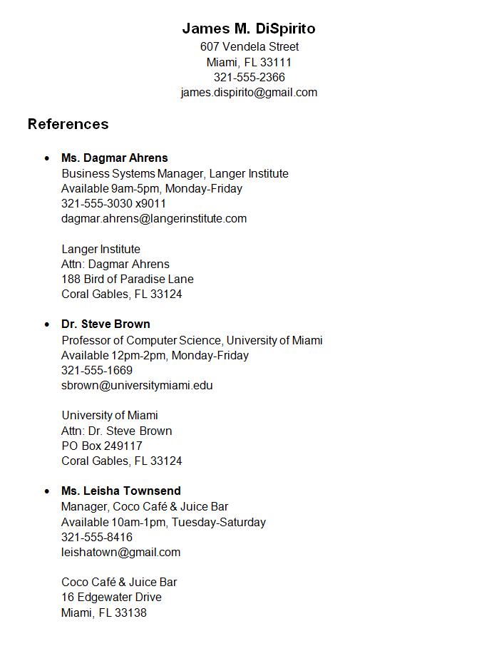 reference sheet for resume