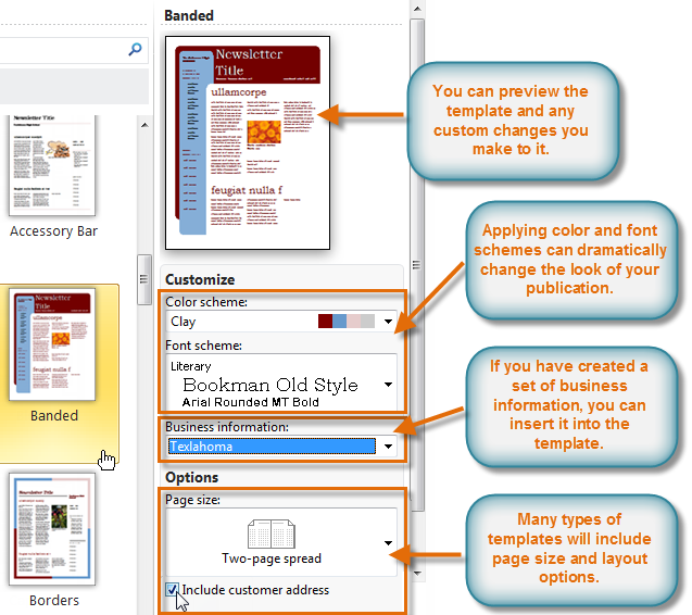 Previewing and customizing the template