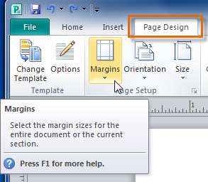 The Margins button