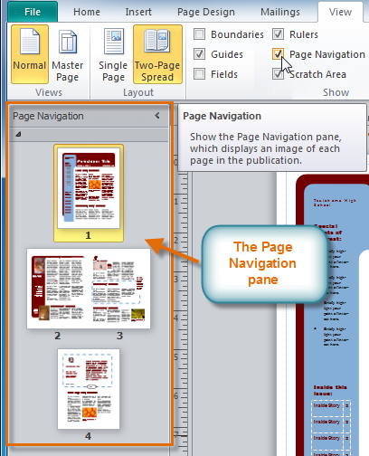 The Page Navigation pane