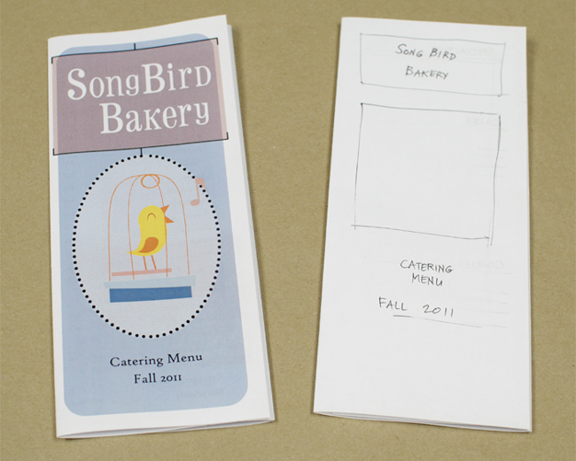 A finished brochure and the initial mocked-up design