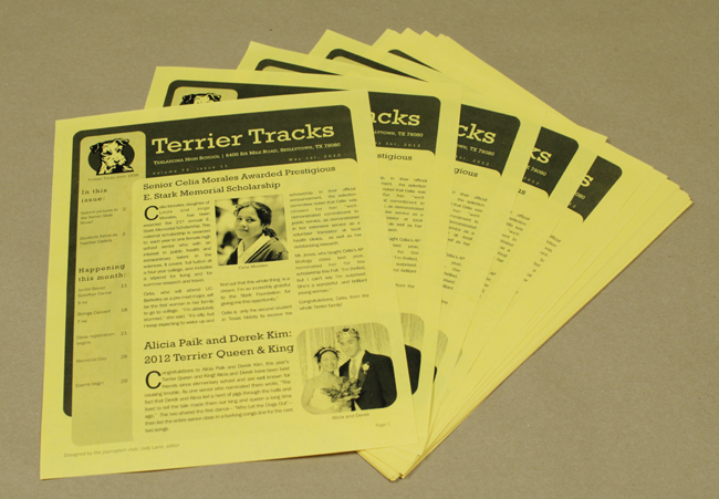 A newsletter printed in grayscale on colored paper