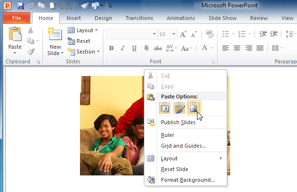 Pasting an image into PowerPoint