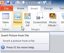 The Picture command in PowerPoint