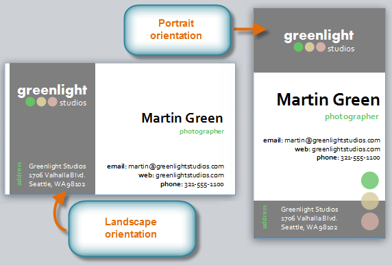 Business cards with different orientations