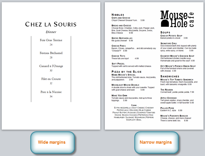 Menus with different sized margins