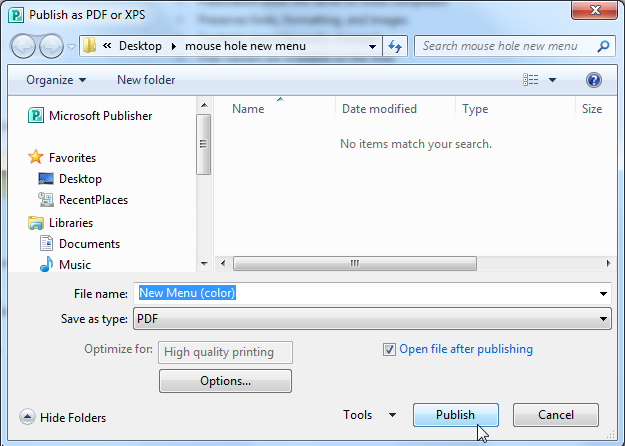 The Publish as PDF or XPS dialog box