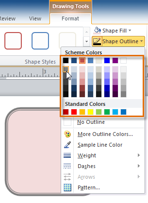 Selecting and previewing an outline color