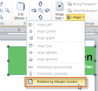 Choosing to align to the page margins