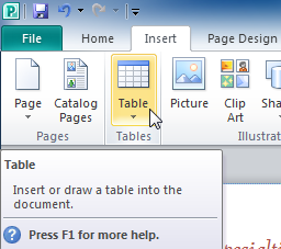 The Table drop-down command
