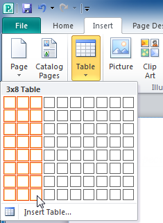 Selecting the number of columns and rows in the new table